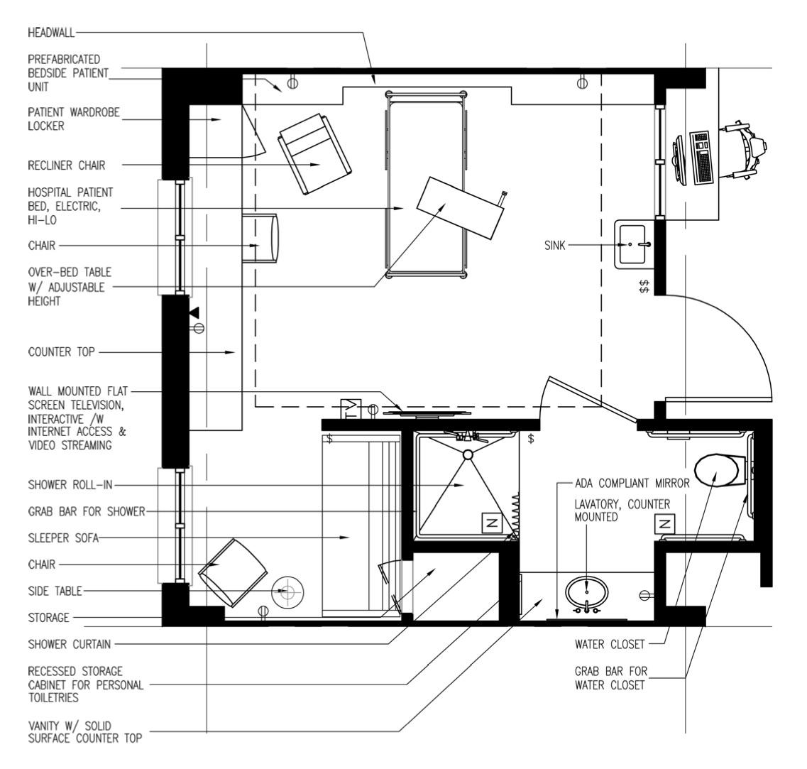 Inpatient Room, VA Polytrauma Rehabilitation Center Design Guide
